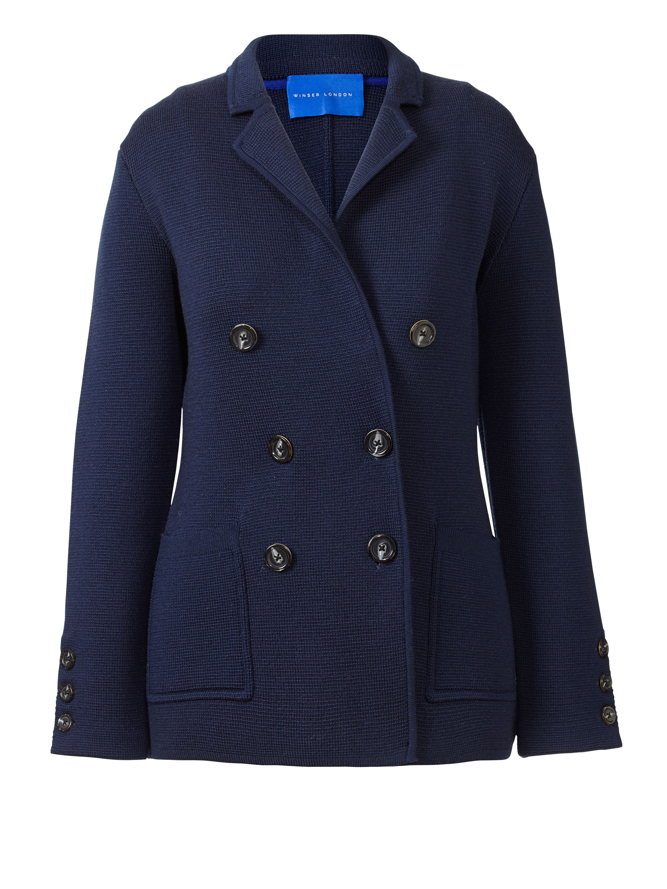 Winser London Milano Wool Db Blazer, Blue