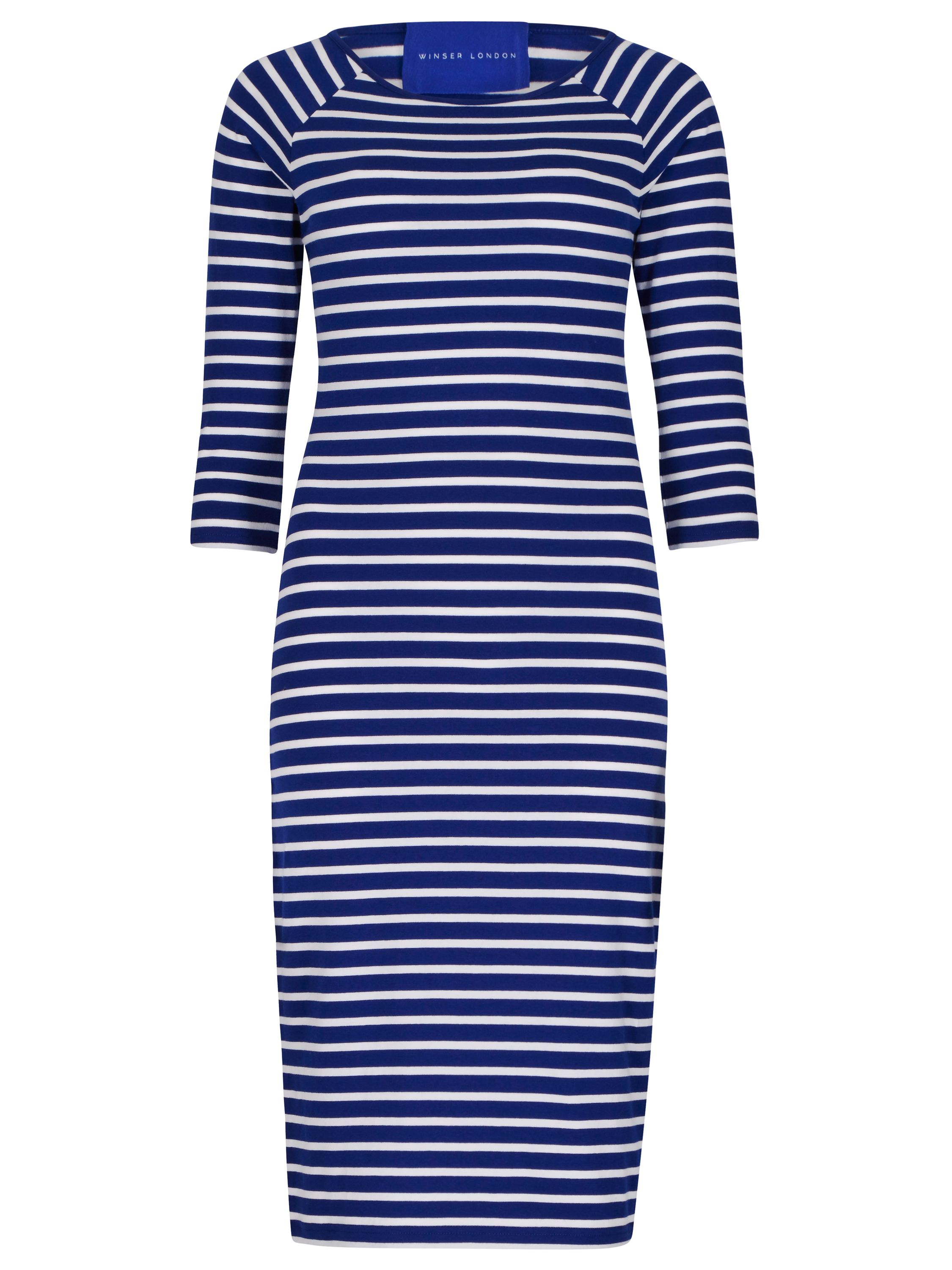 Winser London Cotton Jersey Striped Dress, Multi-Coloured