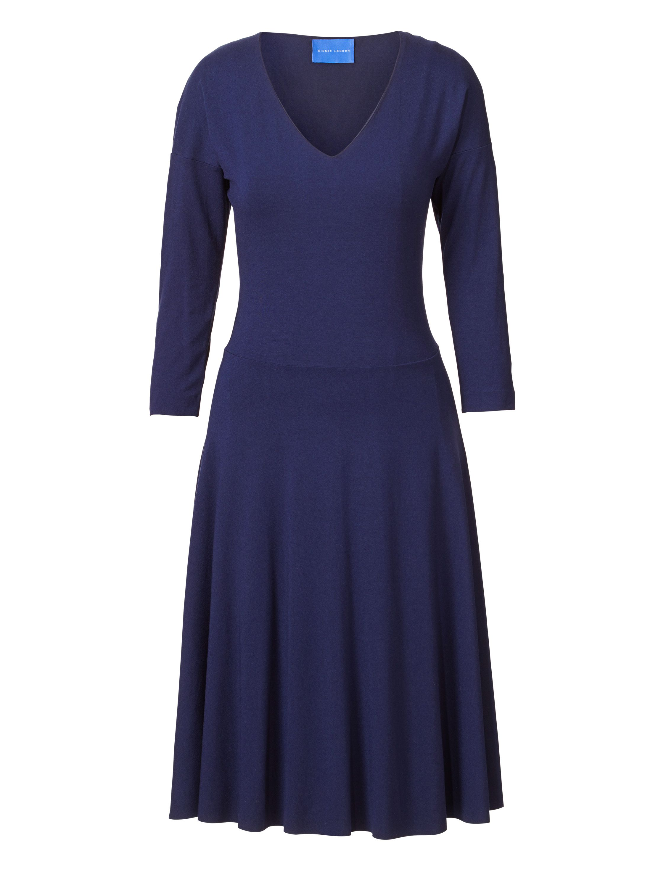 Winser London V Neck Flared Jersey Dress, Blue