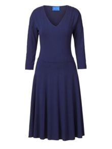 Winser London V Neck Flared Jersey Dress