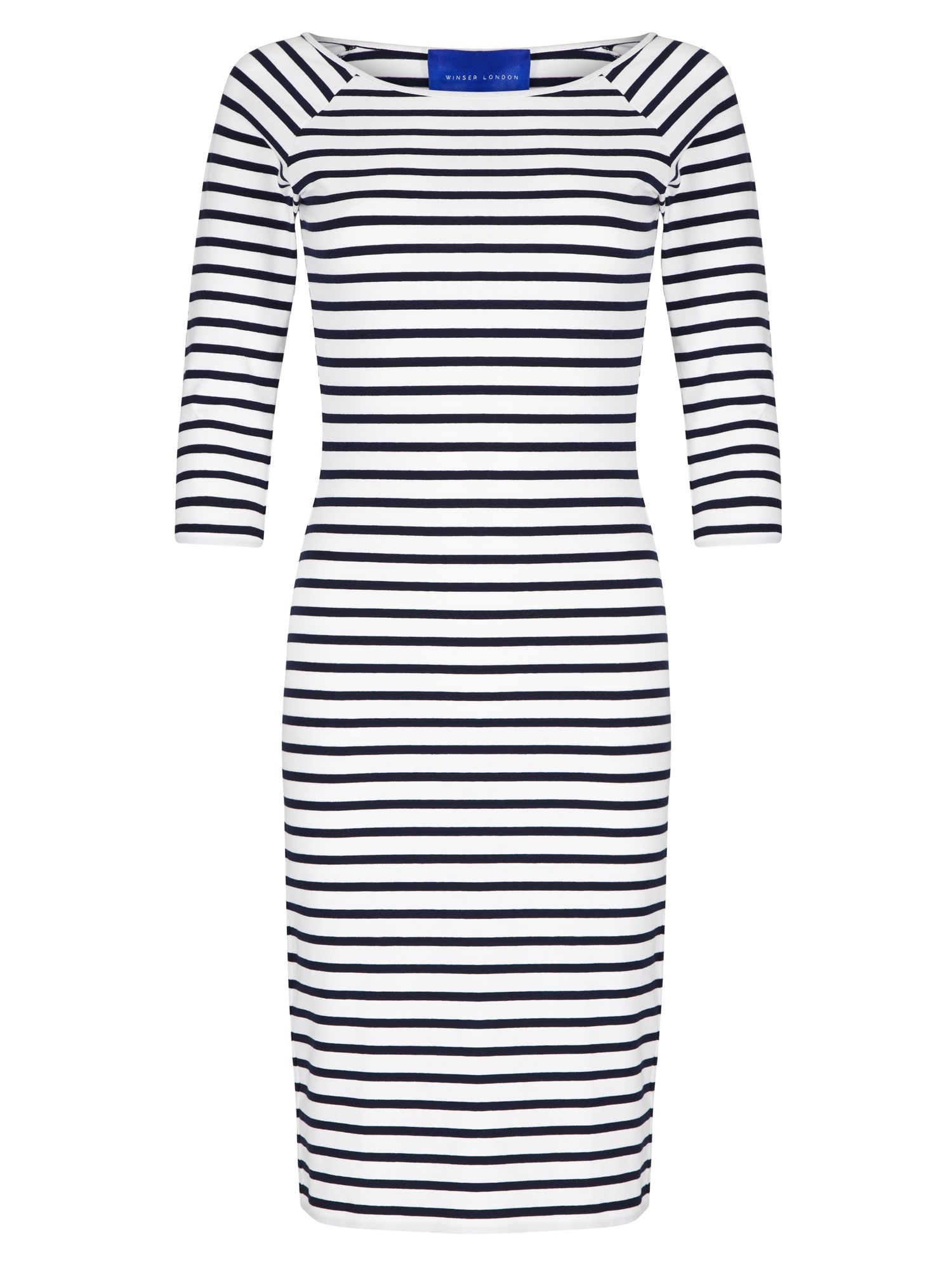 Winser London Cotton Jersey Striped Dress, White