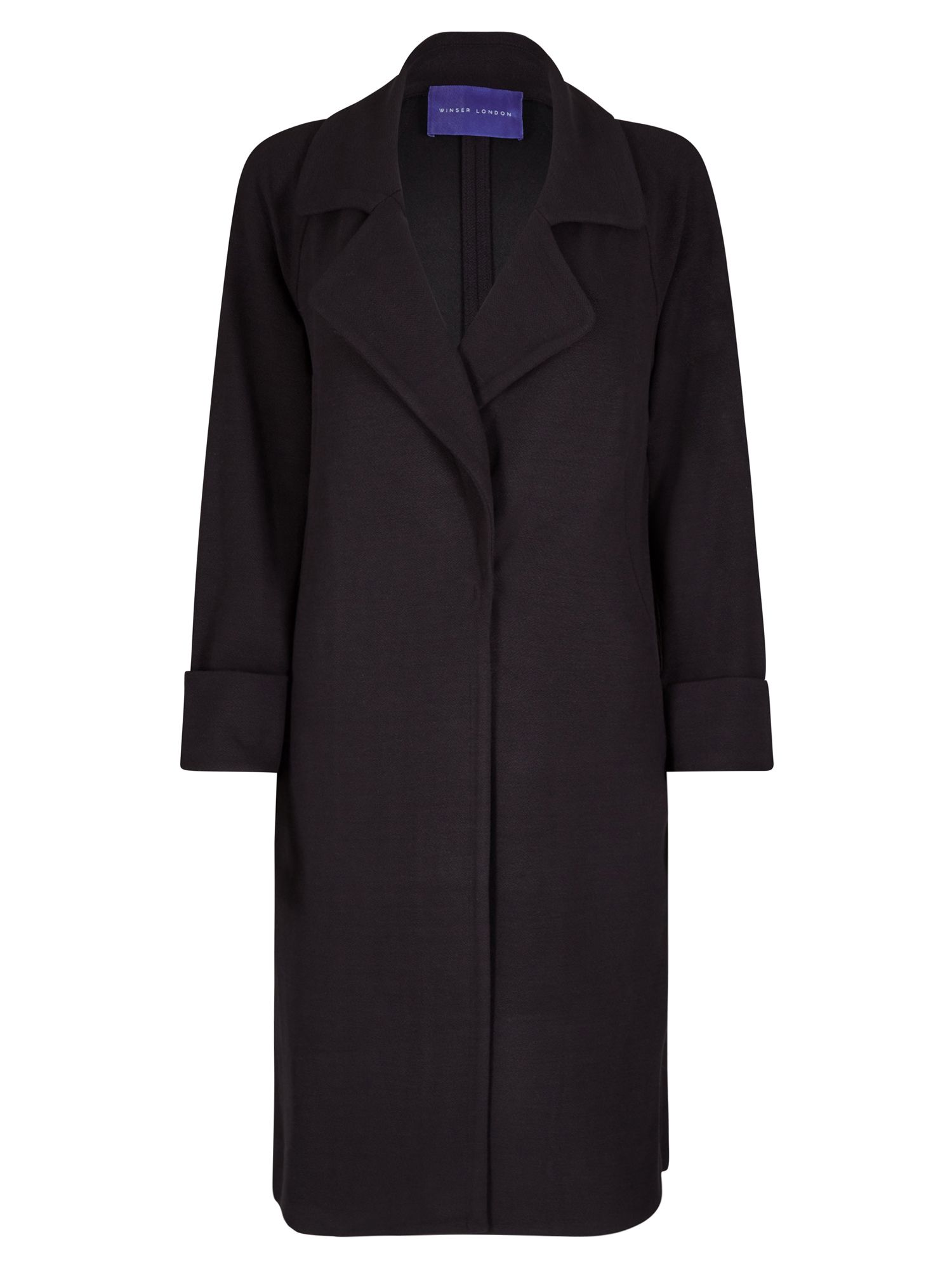 Winser London Crepe Jersey A Line Coat, Black
