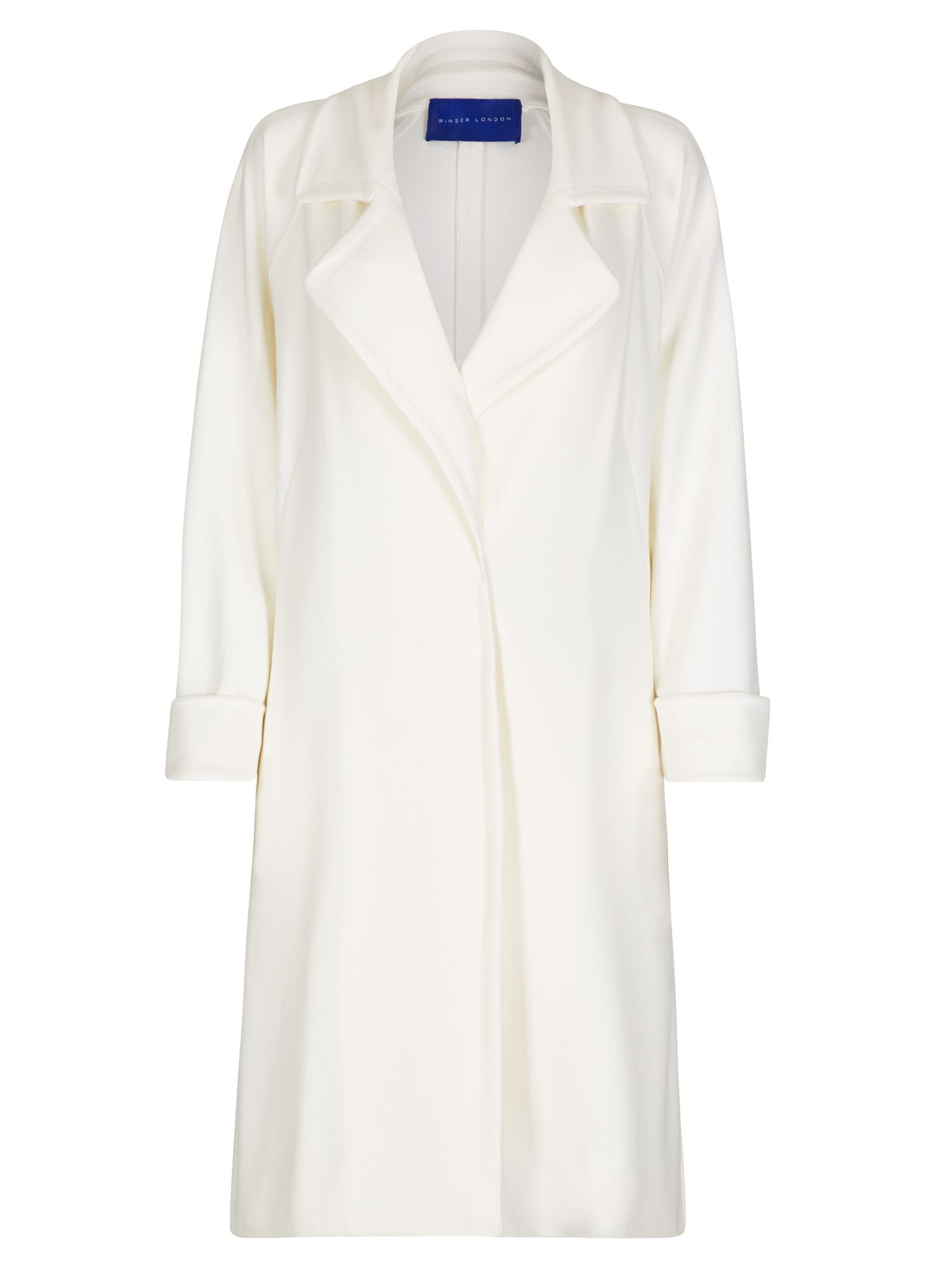 Winser London Crepe Jersey A Line Coat, Cream
