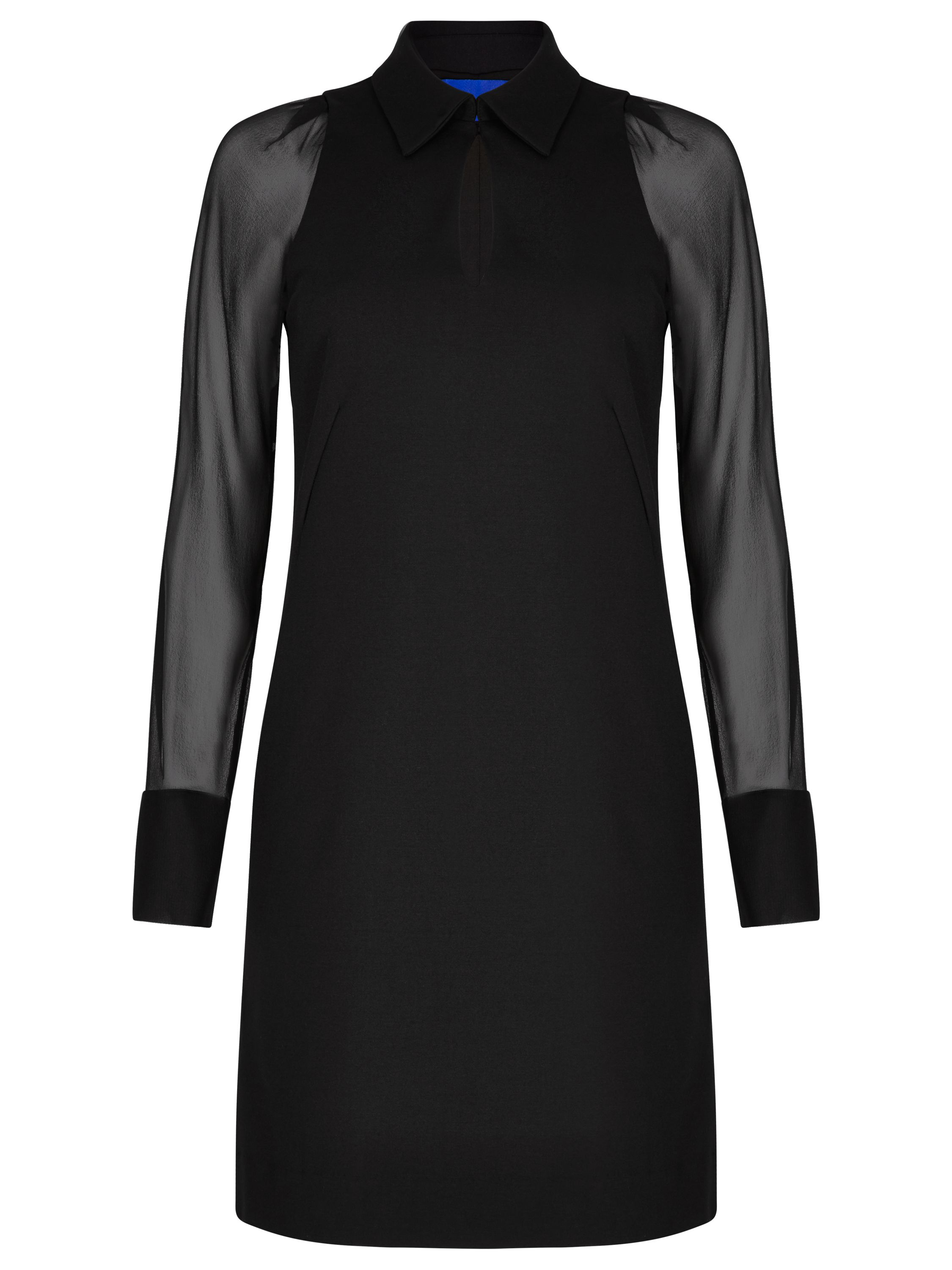 Winser London Miracle Georgette Sleeve Dress, Black