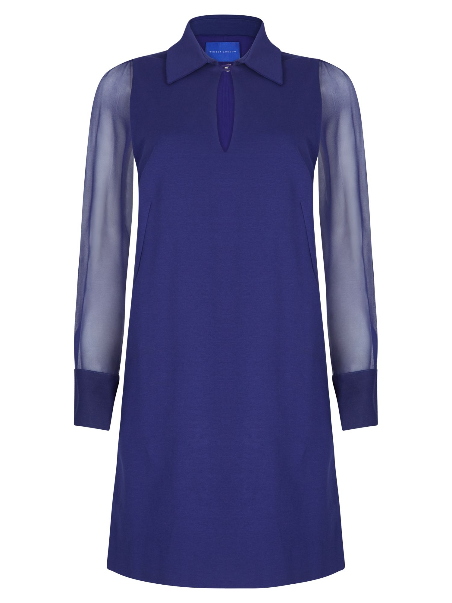 Winser London Miracle Georgette Sleeve Dress, Blue