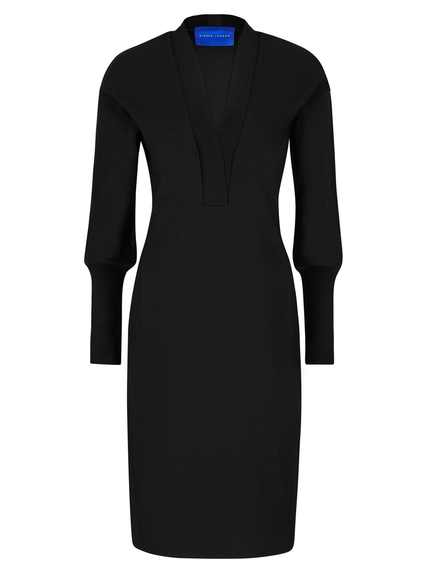 Winser London Deep V Neck Dress, Black