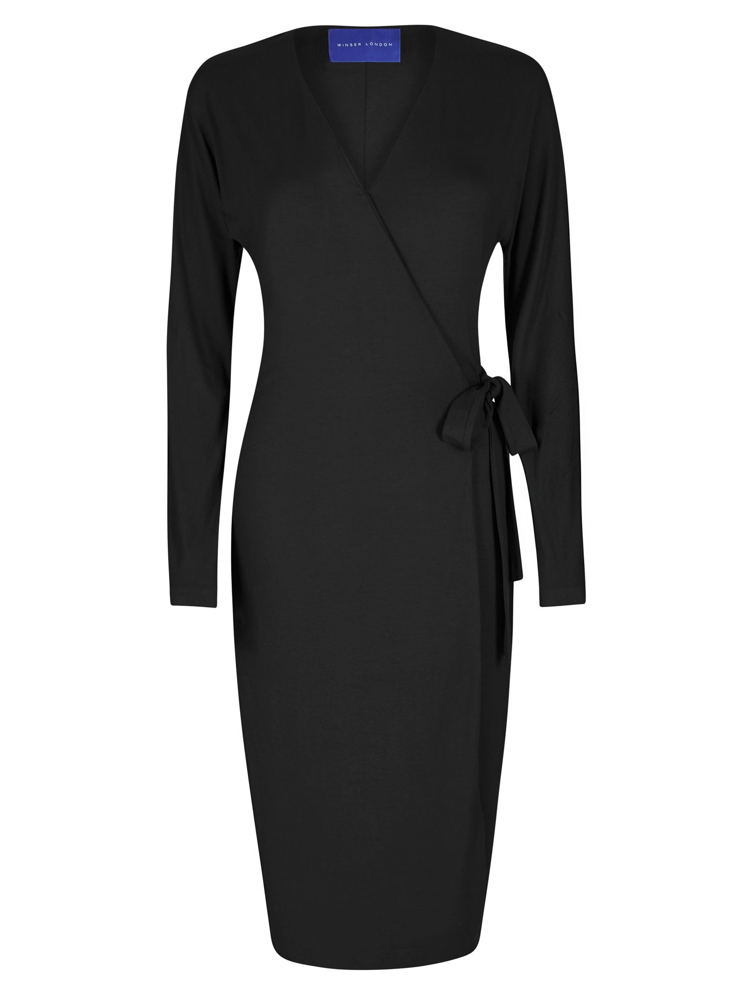 Winser London Wrap Jersey Dress, Black