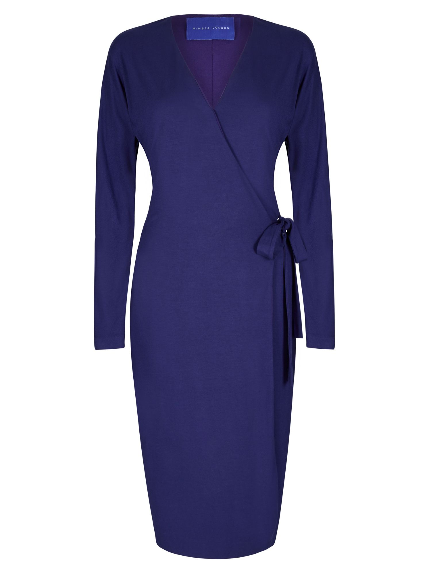 Winser London Wrap Jersey Dress, Blue