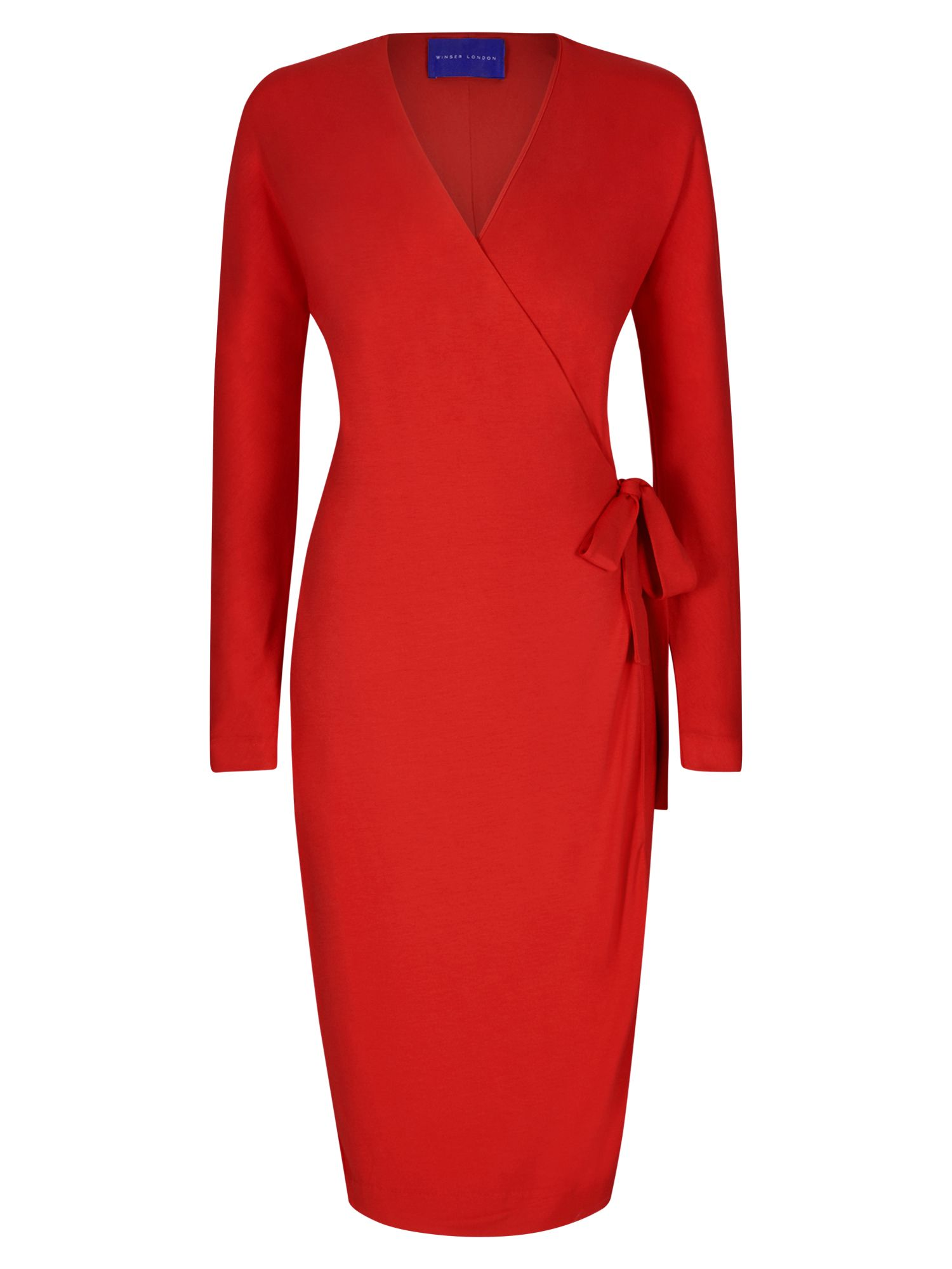 Winser London Wrap Jersey Dress, Red