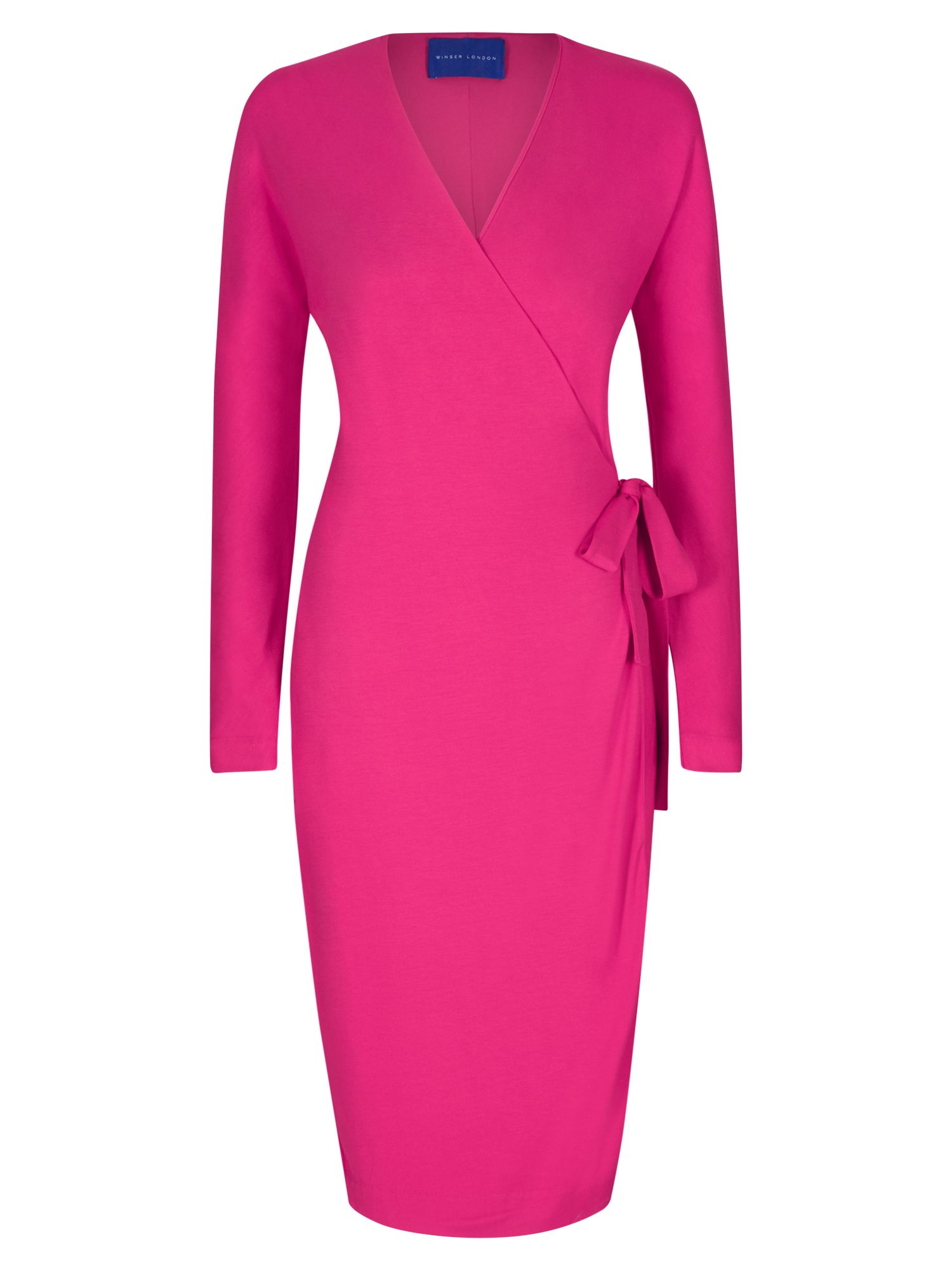 Winser London Wrap Jersey Dress, Pink