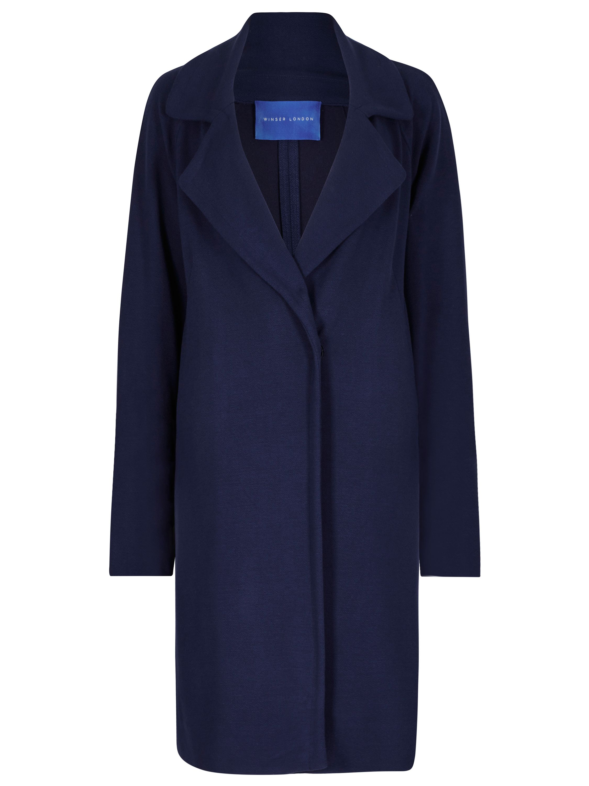 Winser London Crepe Jersey A Line Coat, Blue