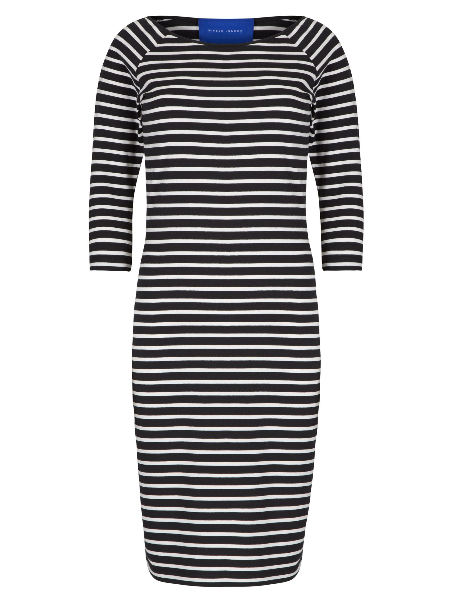 Winser London Cotton Jersey Striped Dress, Black