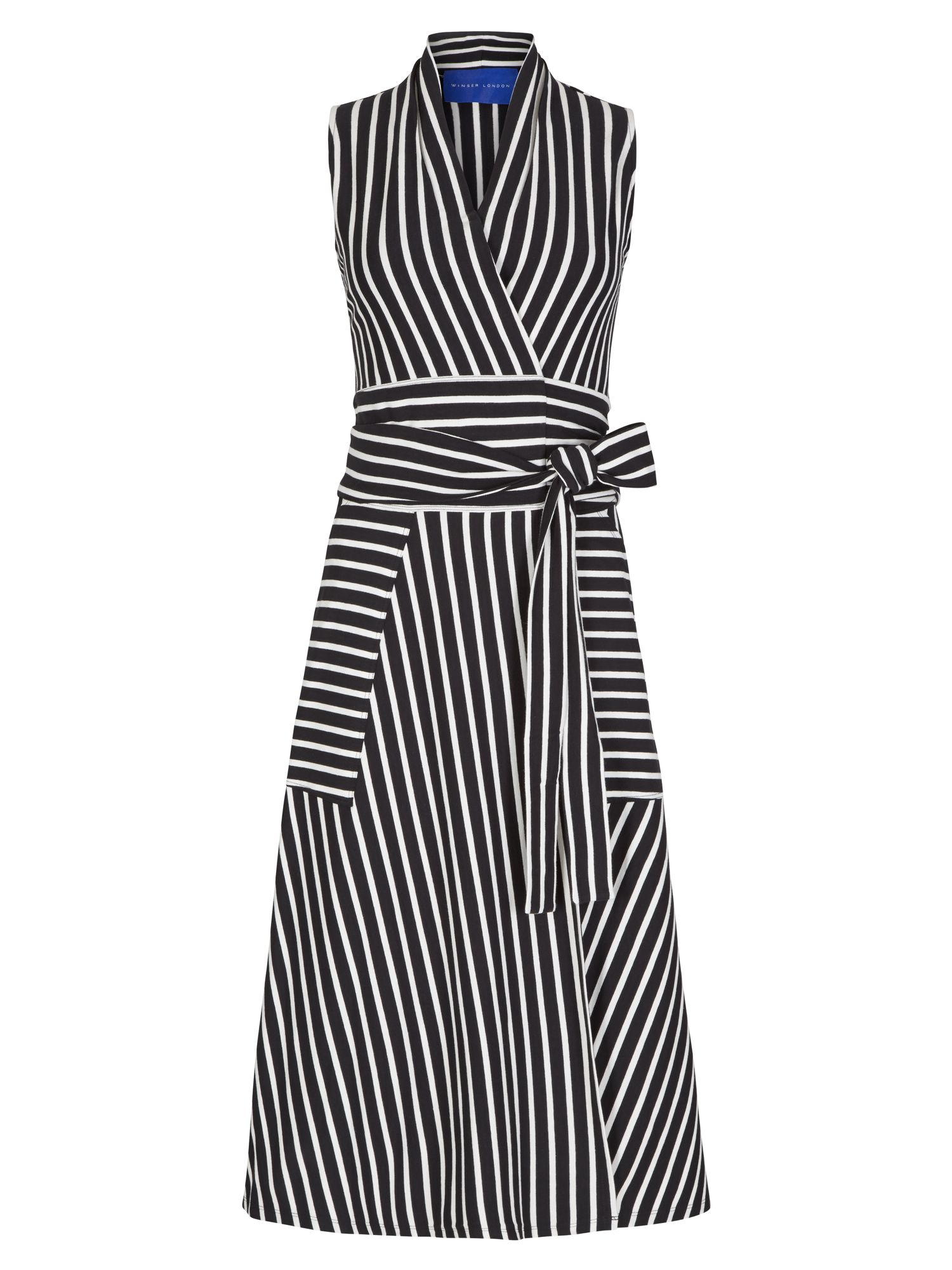 Winser London Cotton Jersey Striped Wrap Dress, Multi-Coloured