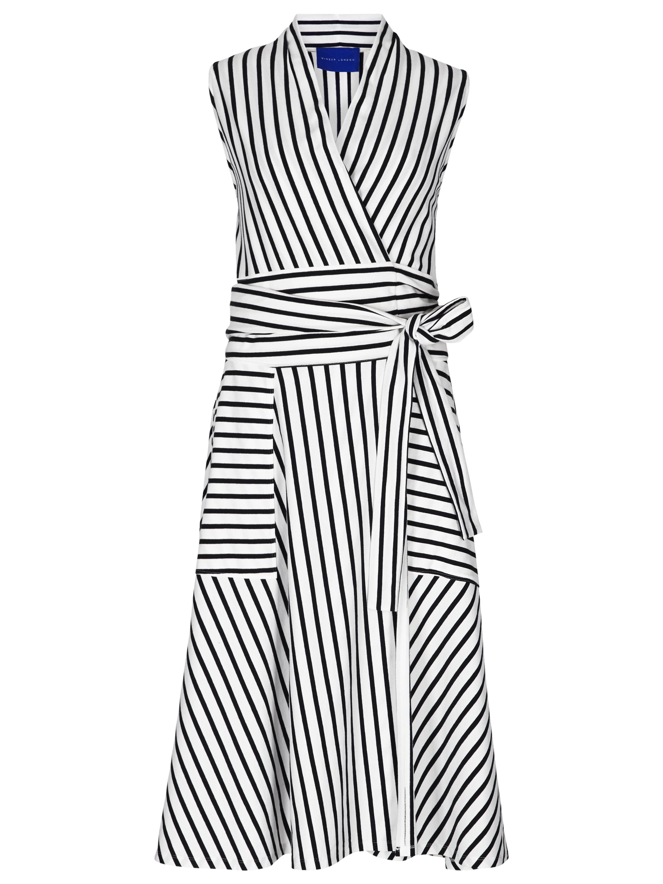 Winser London Cotton Jersey Striped Wrap Dress, Blue