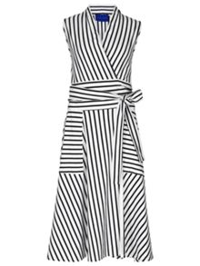 Winser London Cotton Jersey Striped Wrap Dress