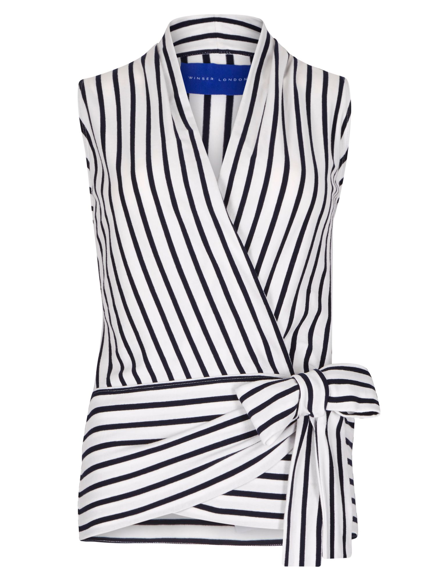 Winser London Cotton Jersey Striped Wrap Top, Blue