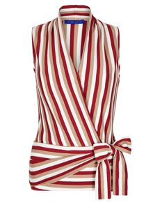 Winser London Cotton Jersey Striped Wrap Top