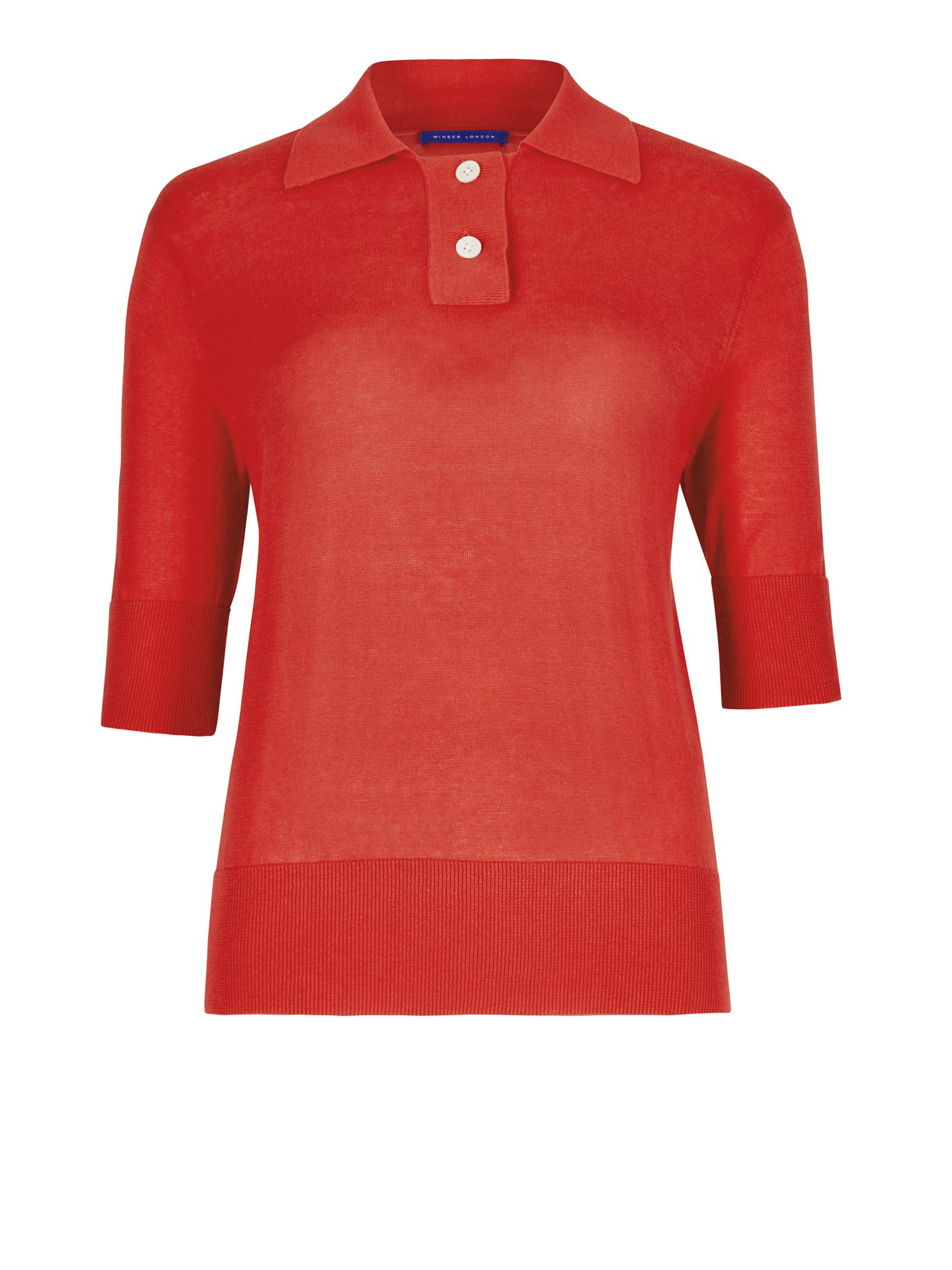 Winser London Silk Cotton Polo Top, Red