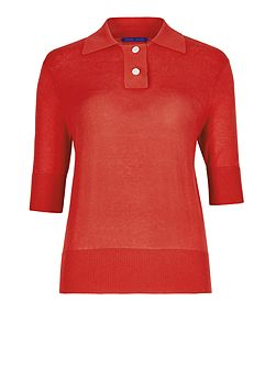 Silk Cotton Polo Top