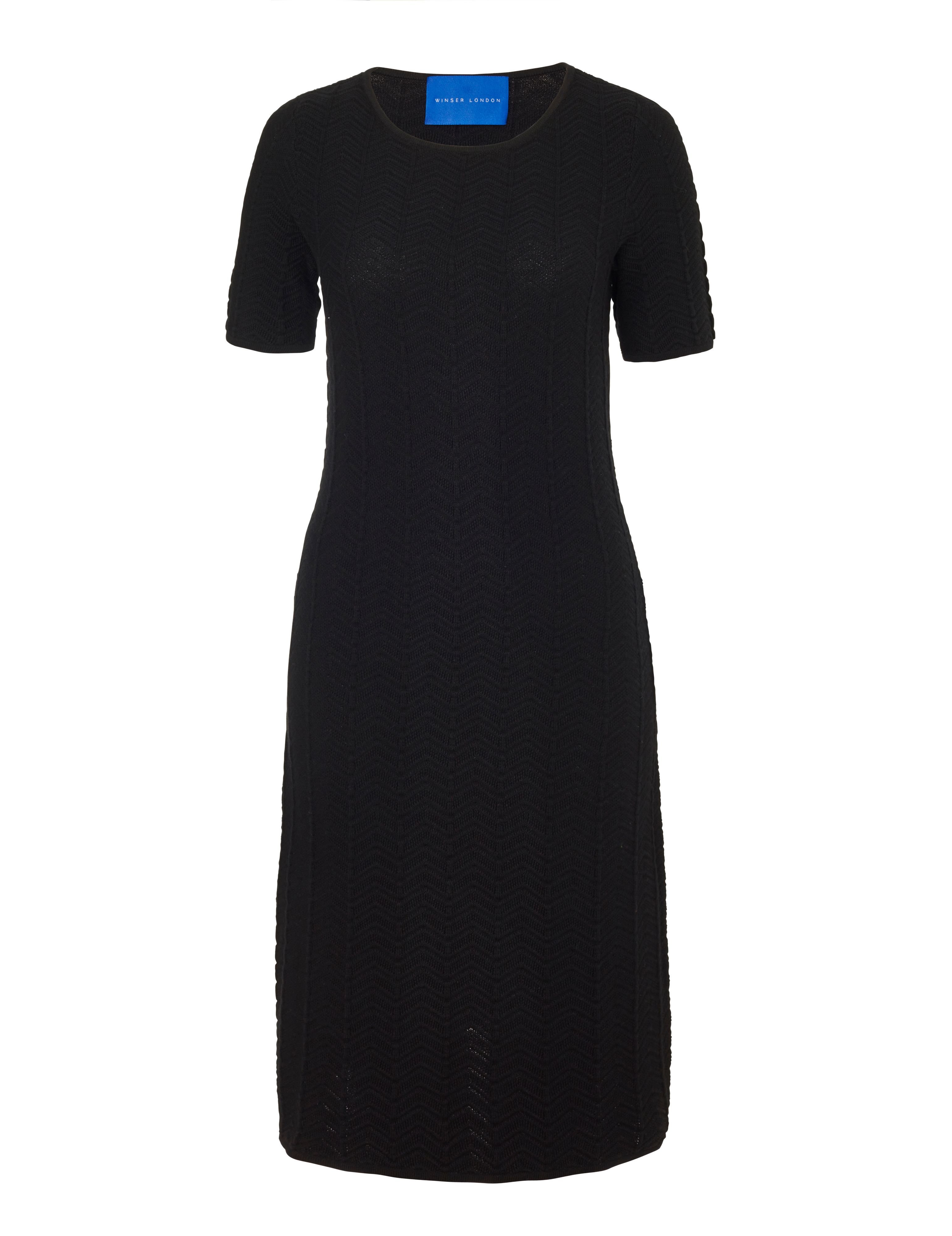Winser London Cotton Chevron Dress, Black