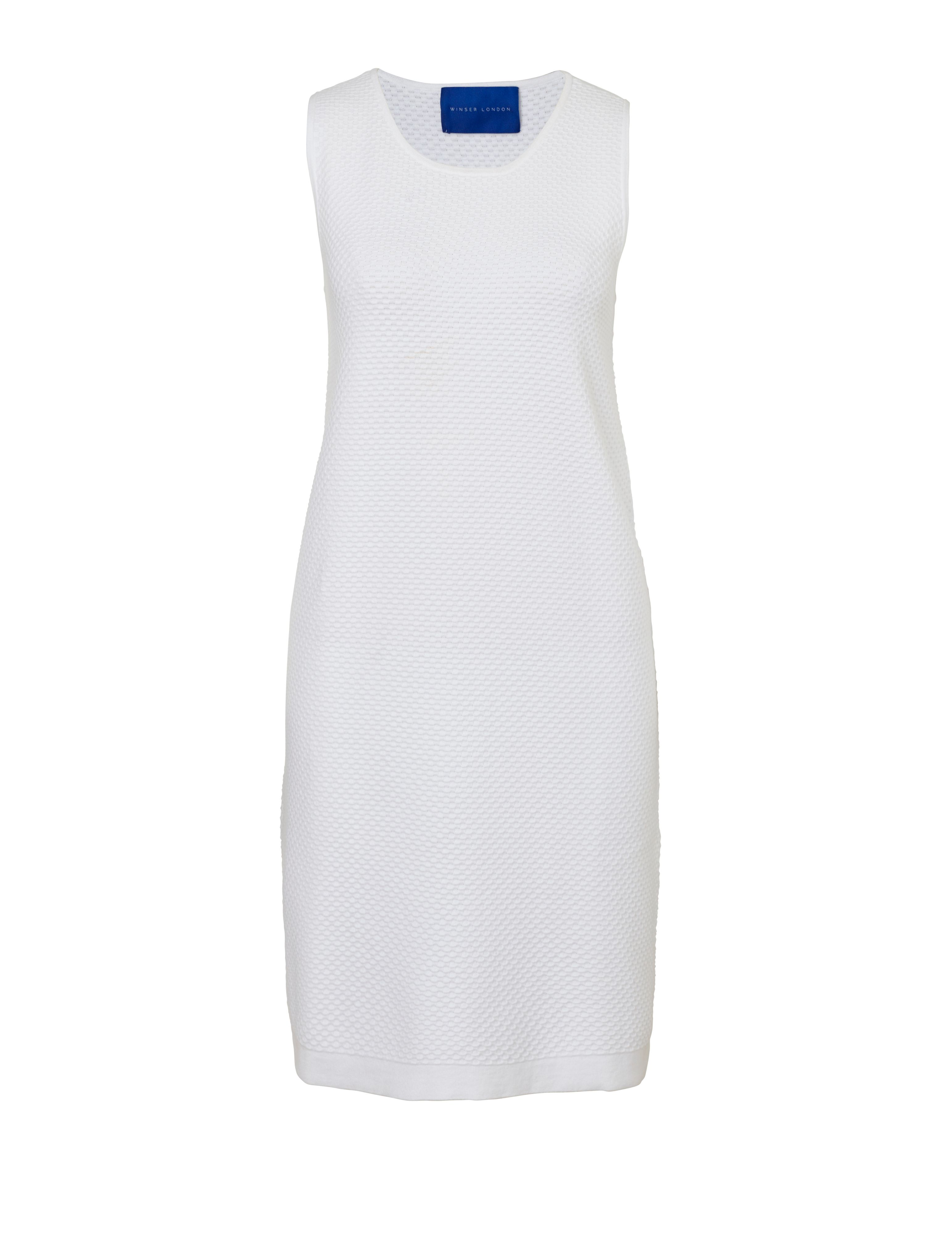 Winser London Cotton Textured Dress, White