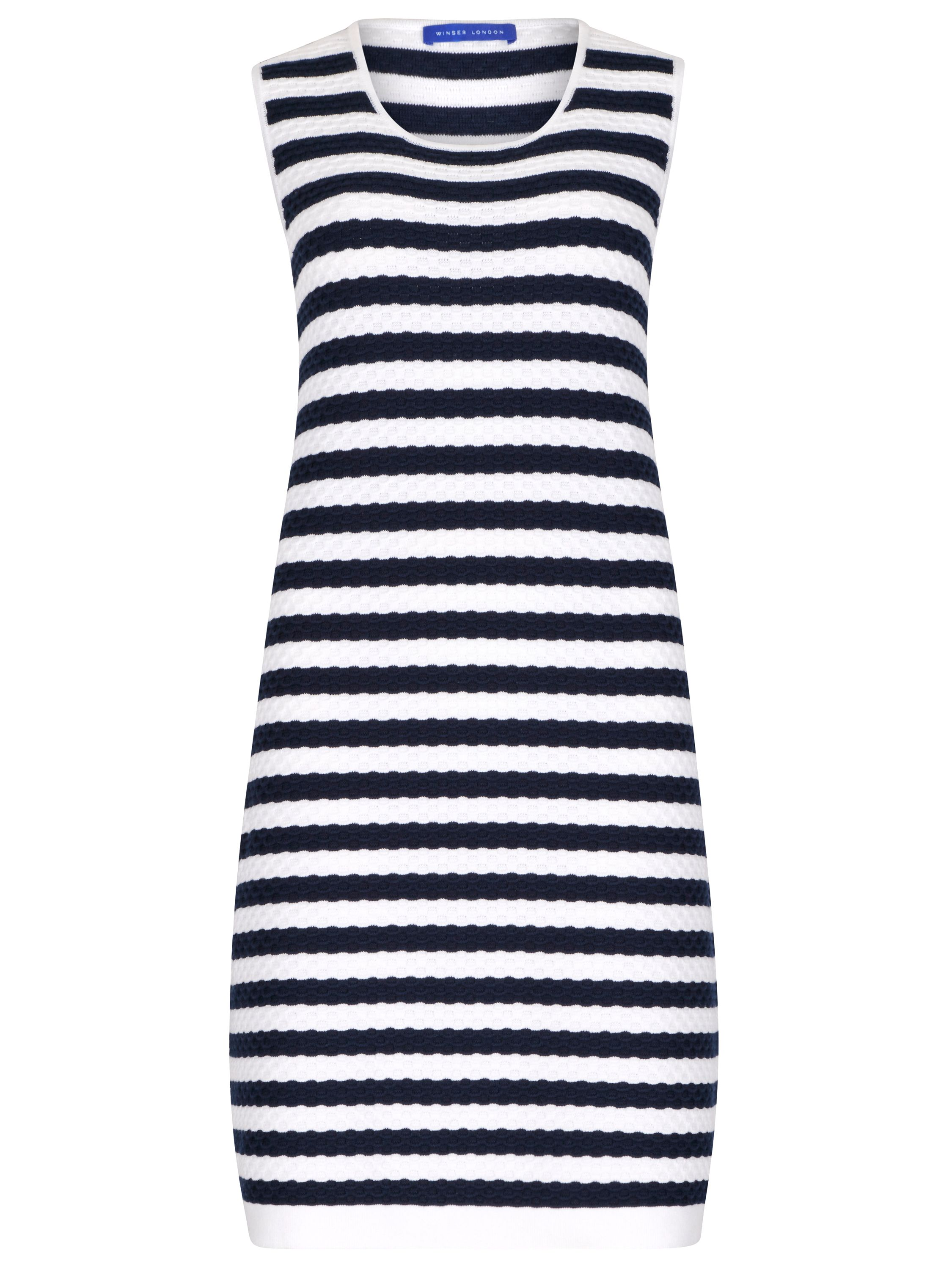 Winser London Cotton Textured Stripe Dress, Blue