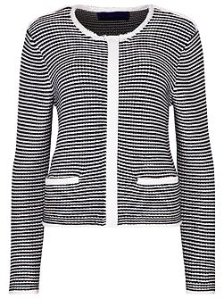 Cotton Zip Striped Jacket