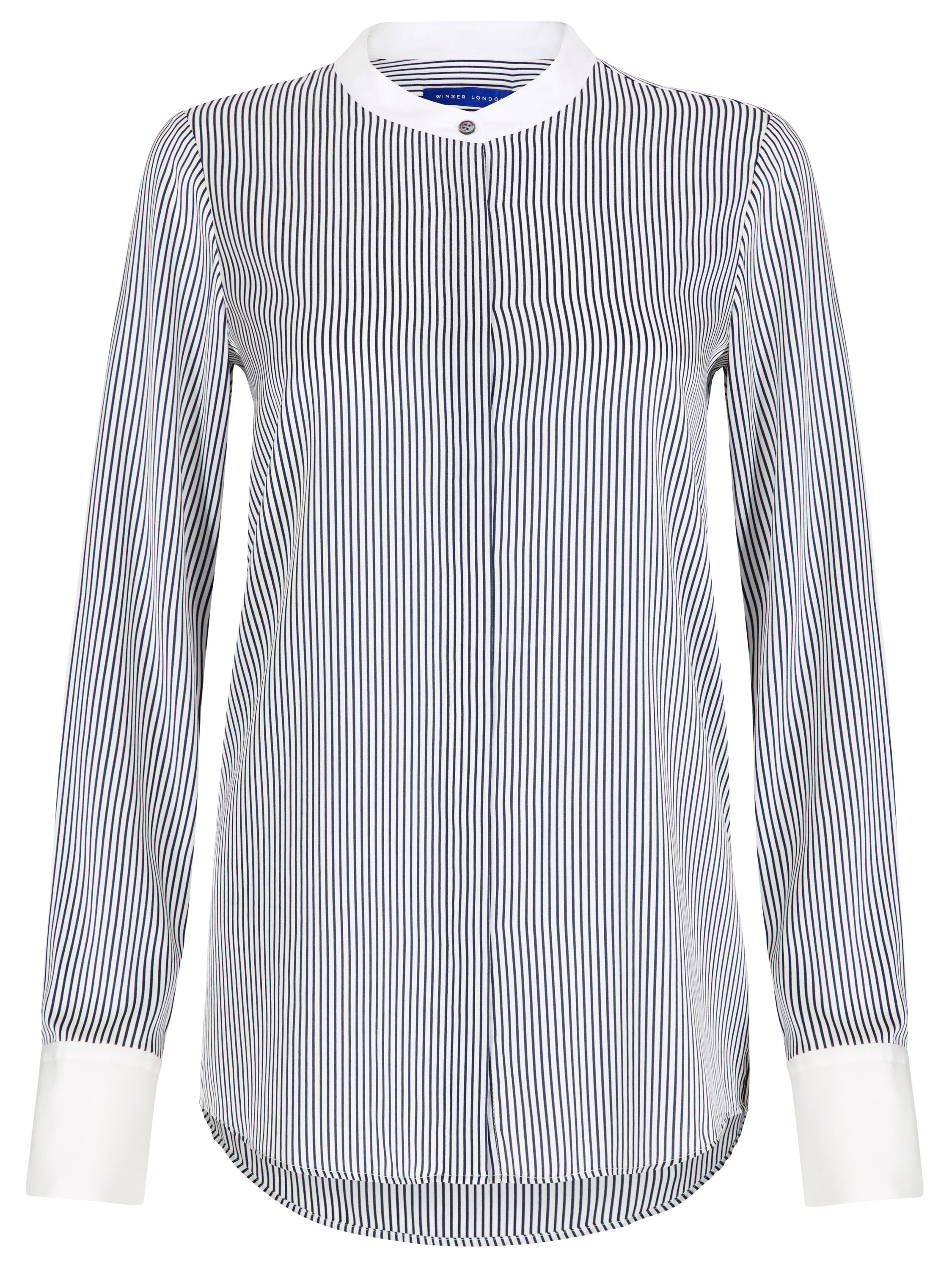 Winser London Lightweight Silk Striped Shirt, Blue