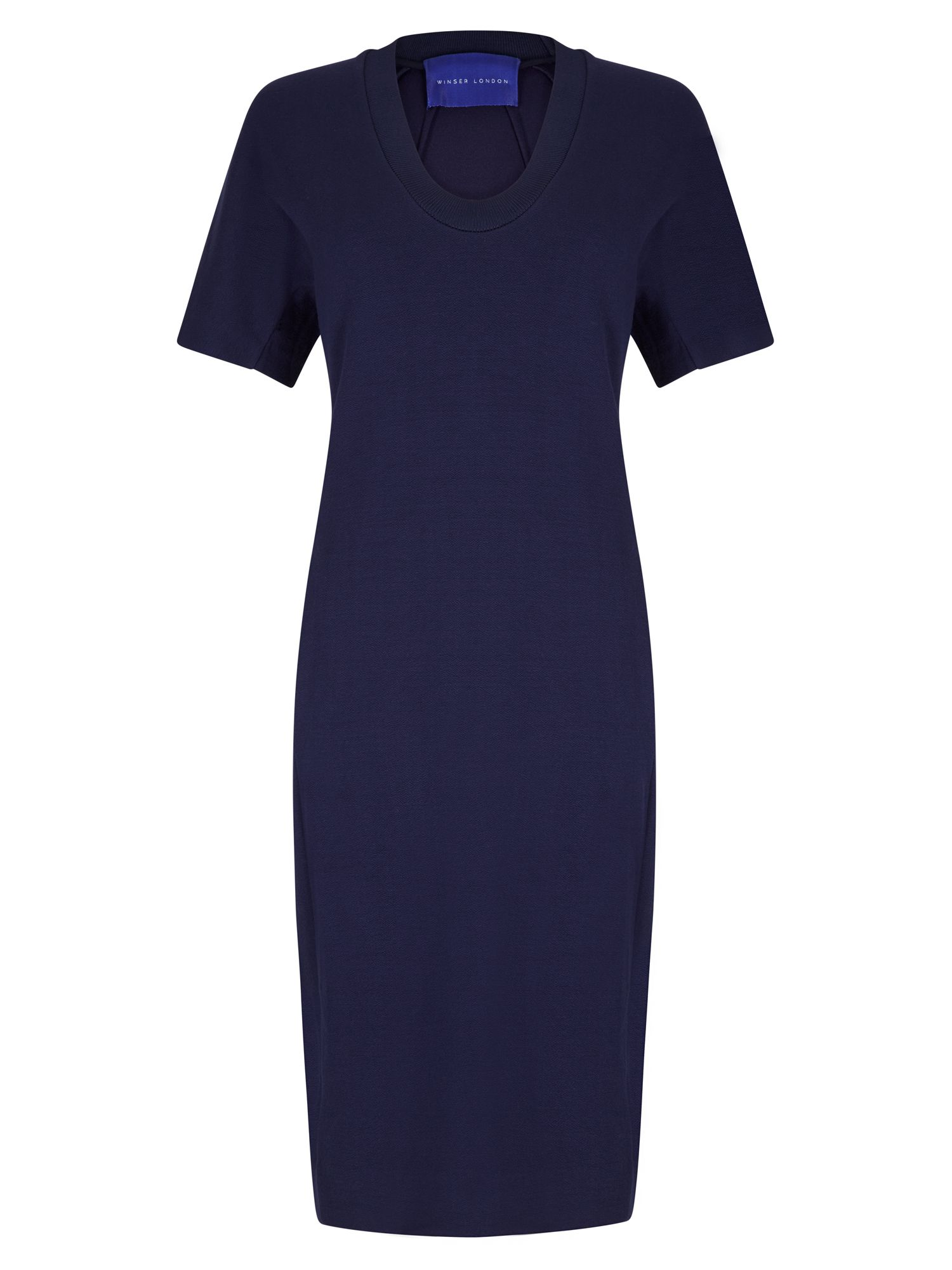 Winser London Crepe Jersey Scoop Neck Dress, Blue