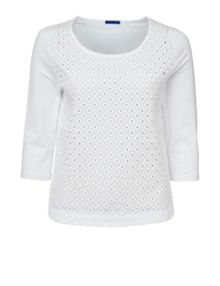 Winser London 3/4 Sleeve Broderie Anglaise Top