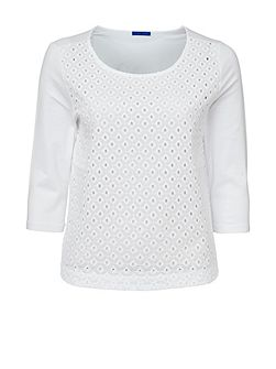 3/4 Sleeve Broderie Anglaise Top