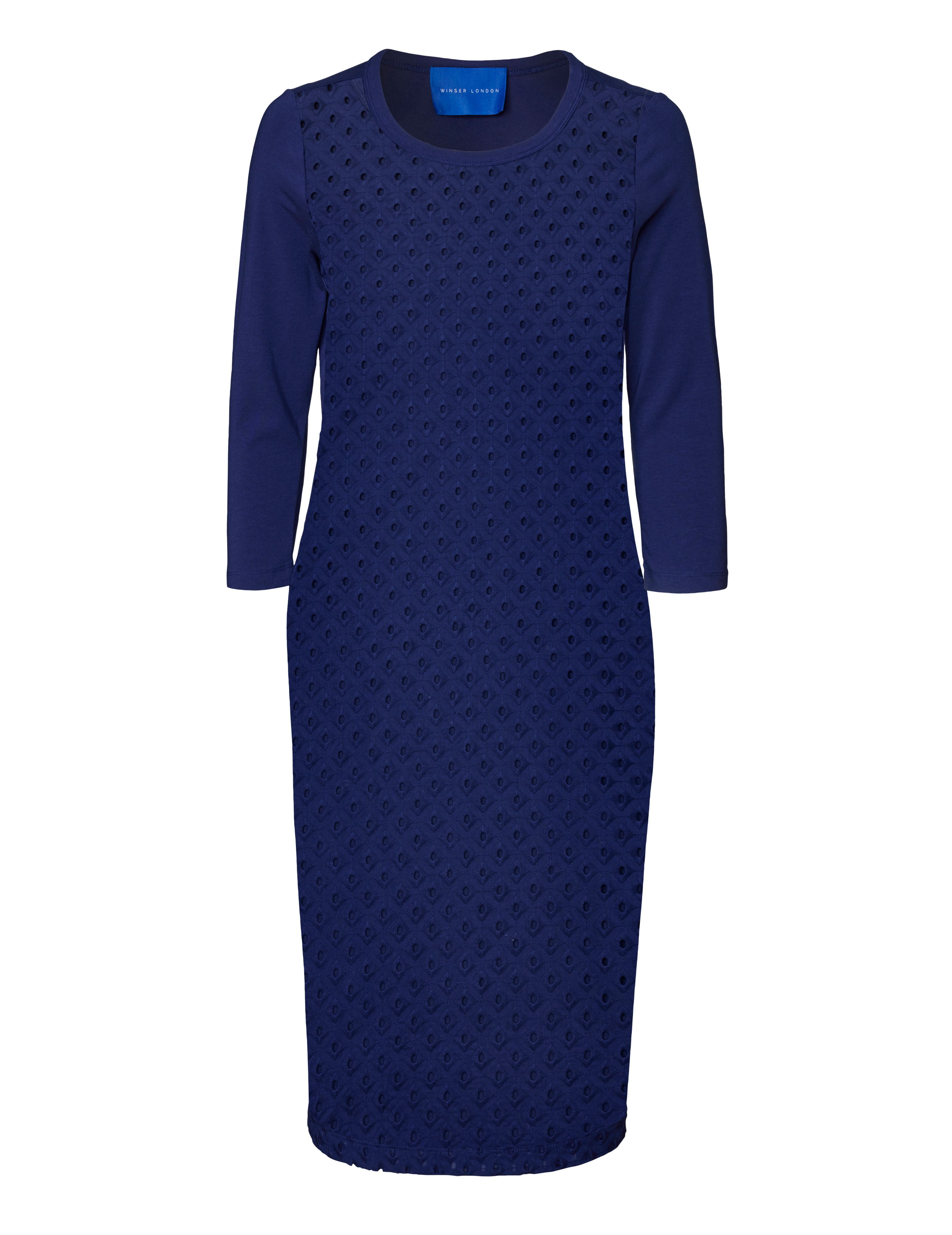 Winser London Broderie Anglaise Dress With Jersey Back, Blue
