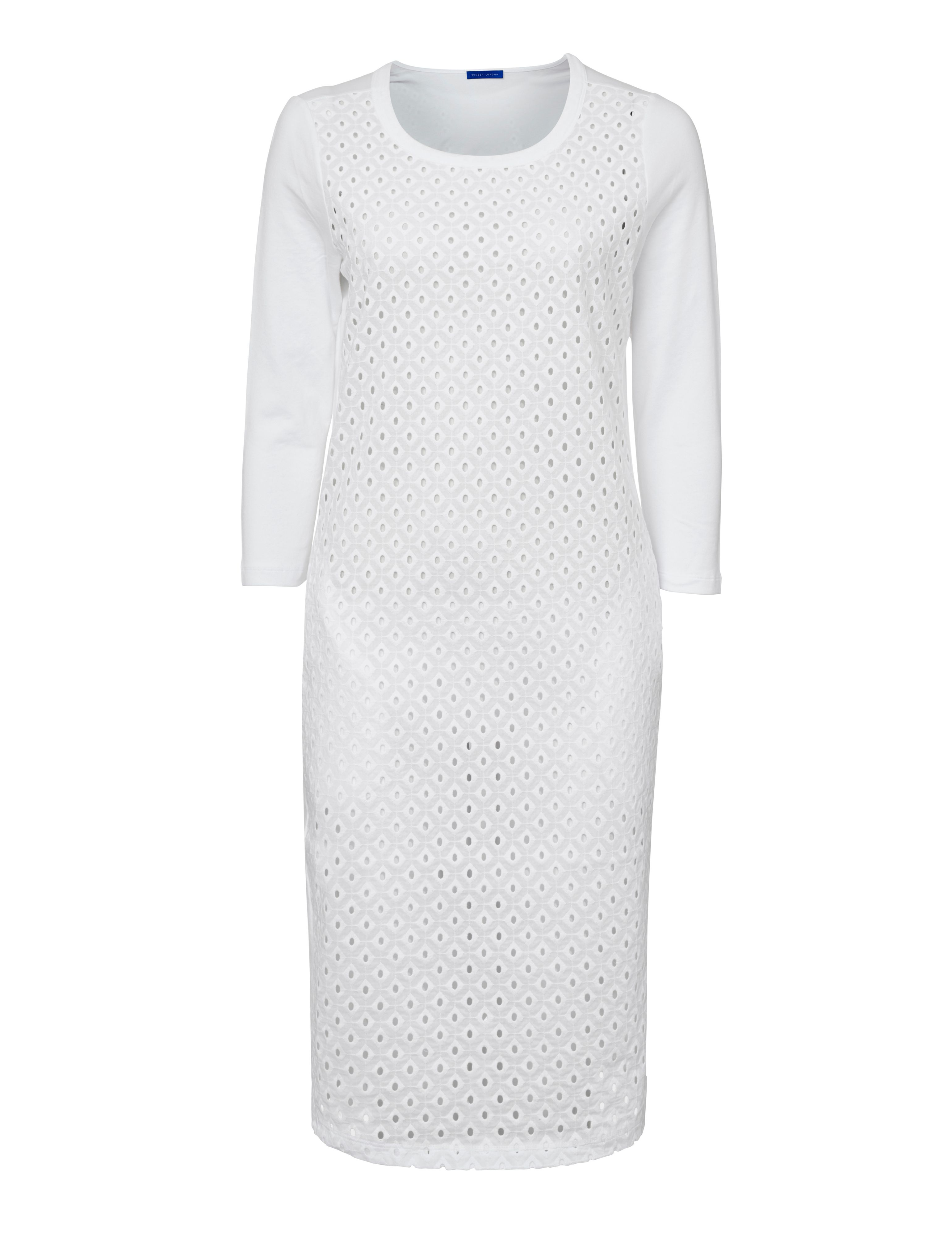 Winser London Broderie Anglaise Dress With Jersey Back, White