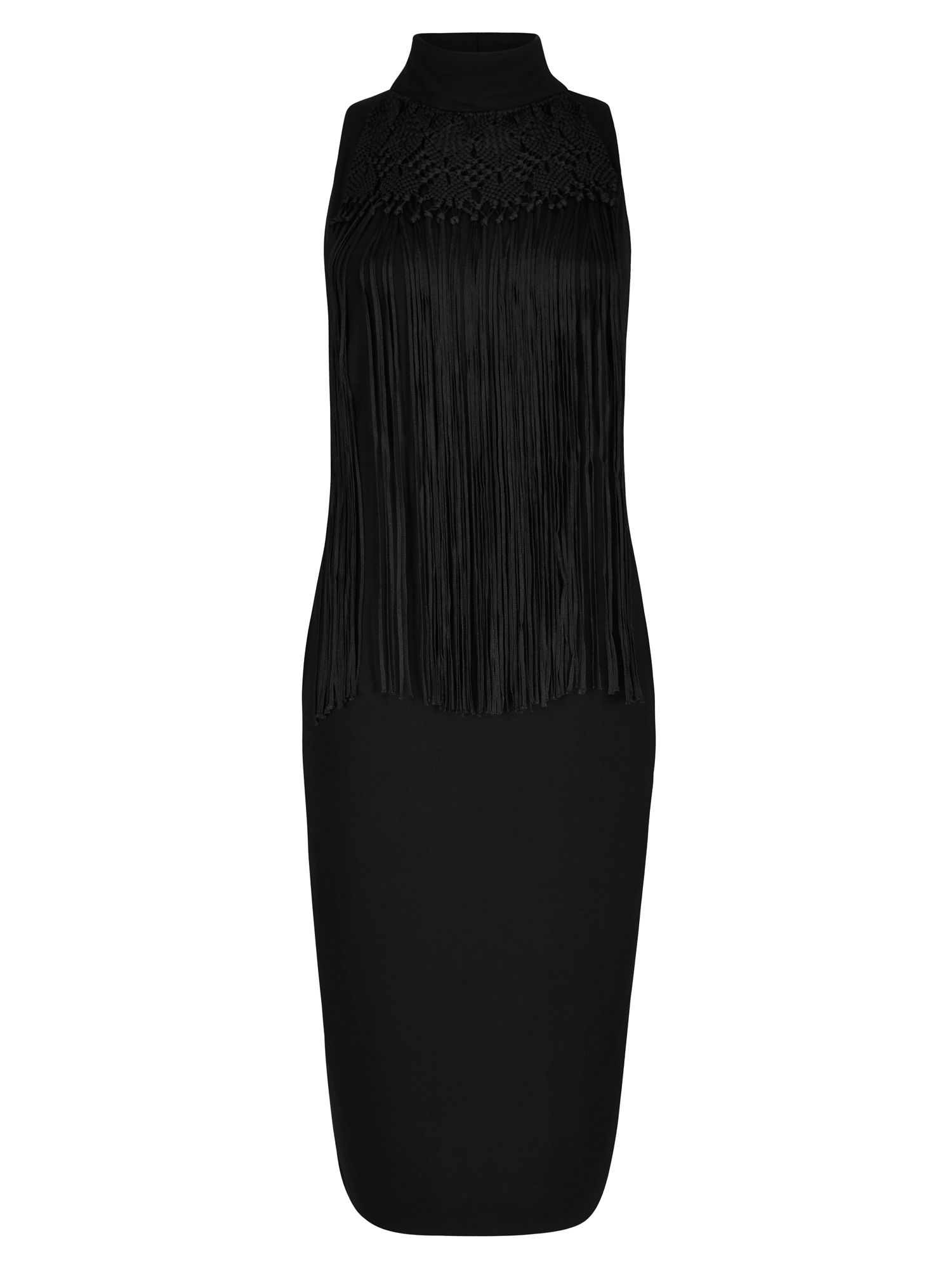 Winser London Macrame Dress, Black