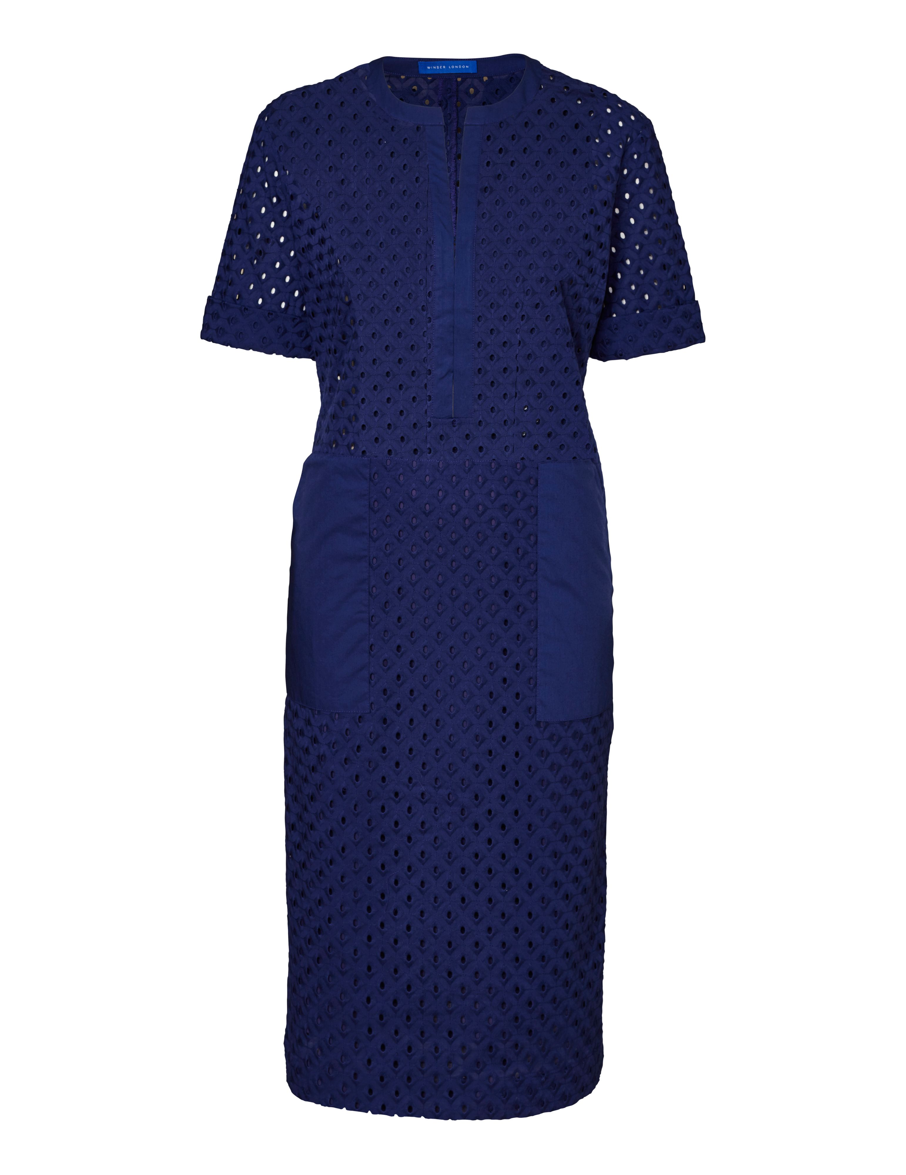 Winser London Pure Cotton Broderie Anglaise Shift Dress, Blue