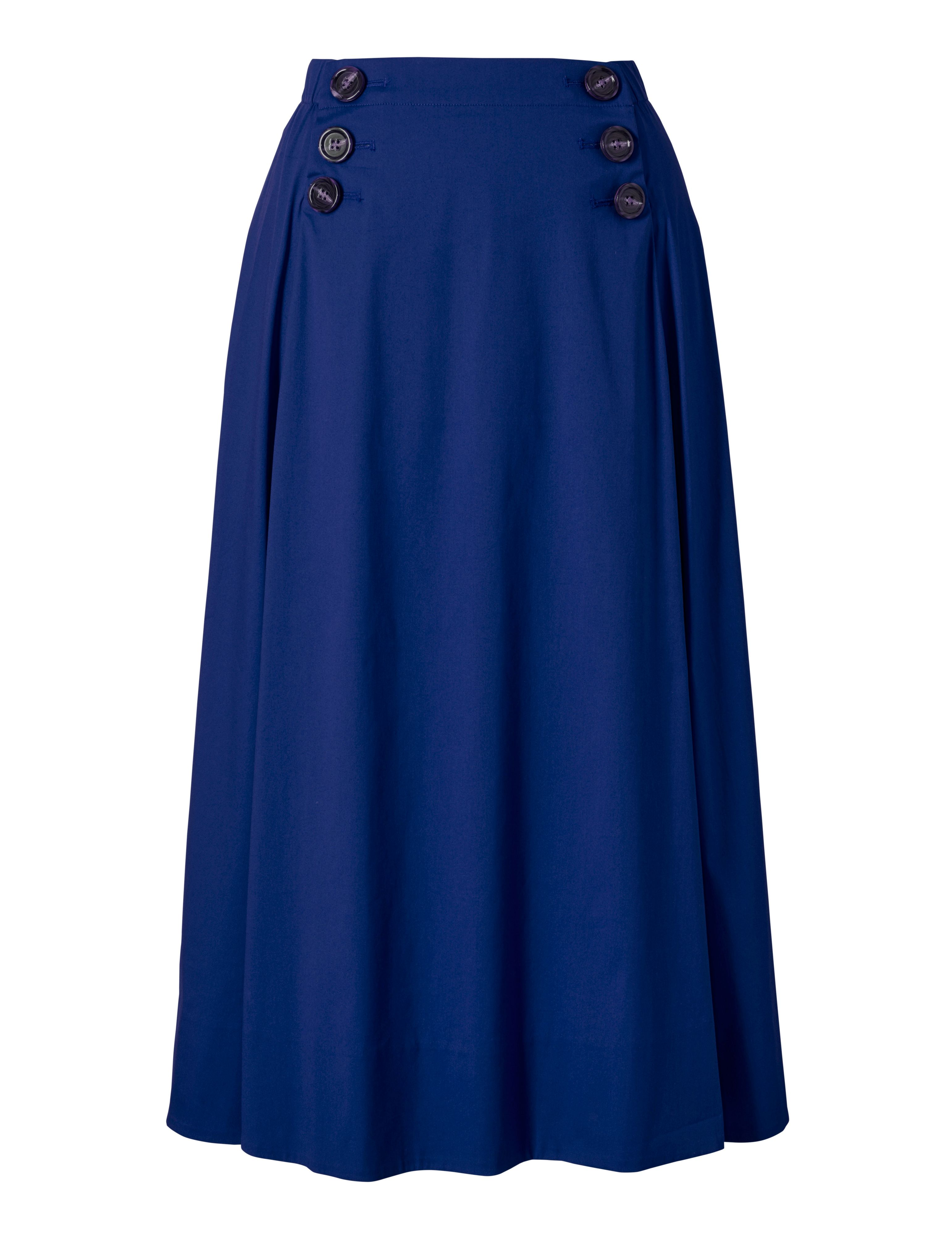 Winser London Cotton Poplin Circle Skirt, Blue