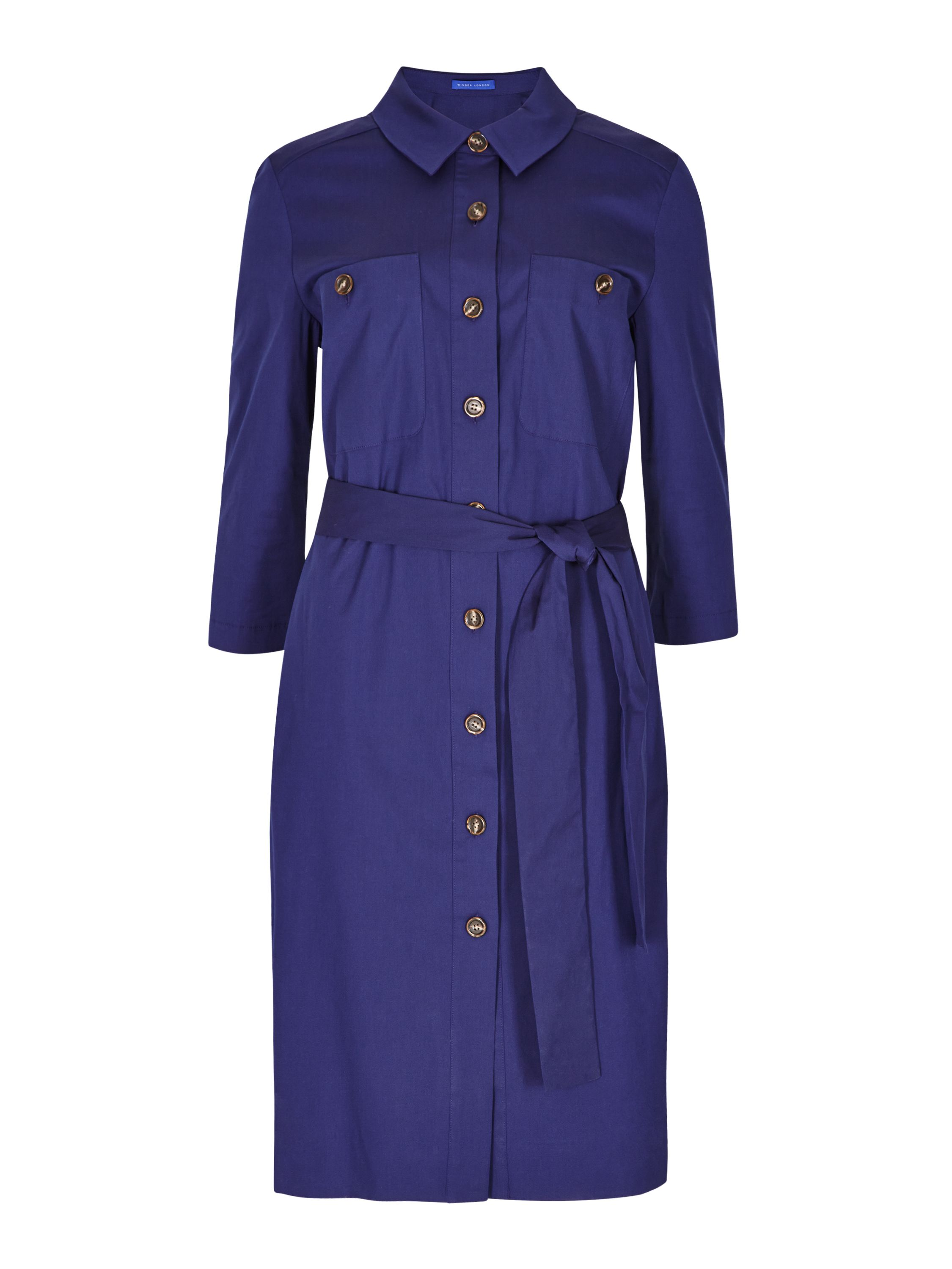 Winser London Cotton Poplin Shirt Dress, Blue