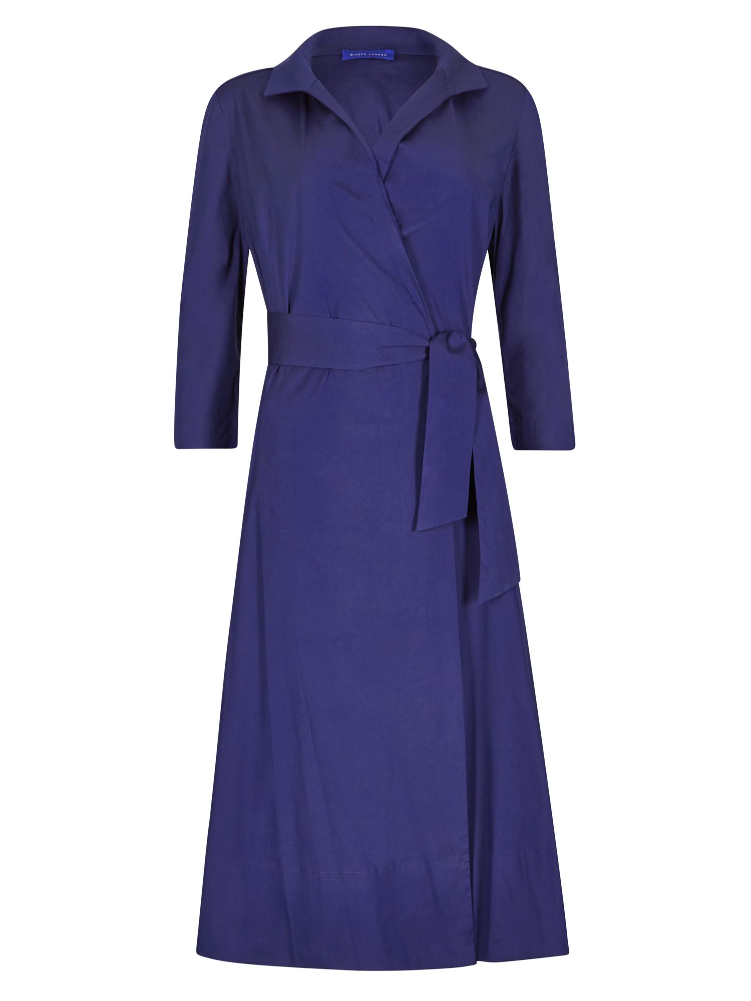 Winser London Cotton poplin wrap dress, Blue