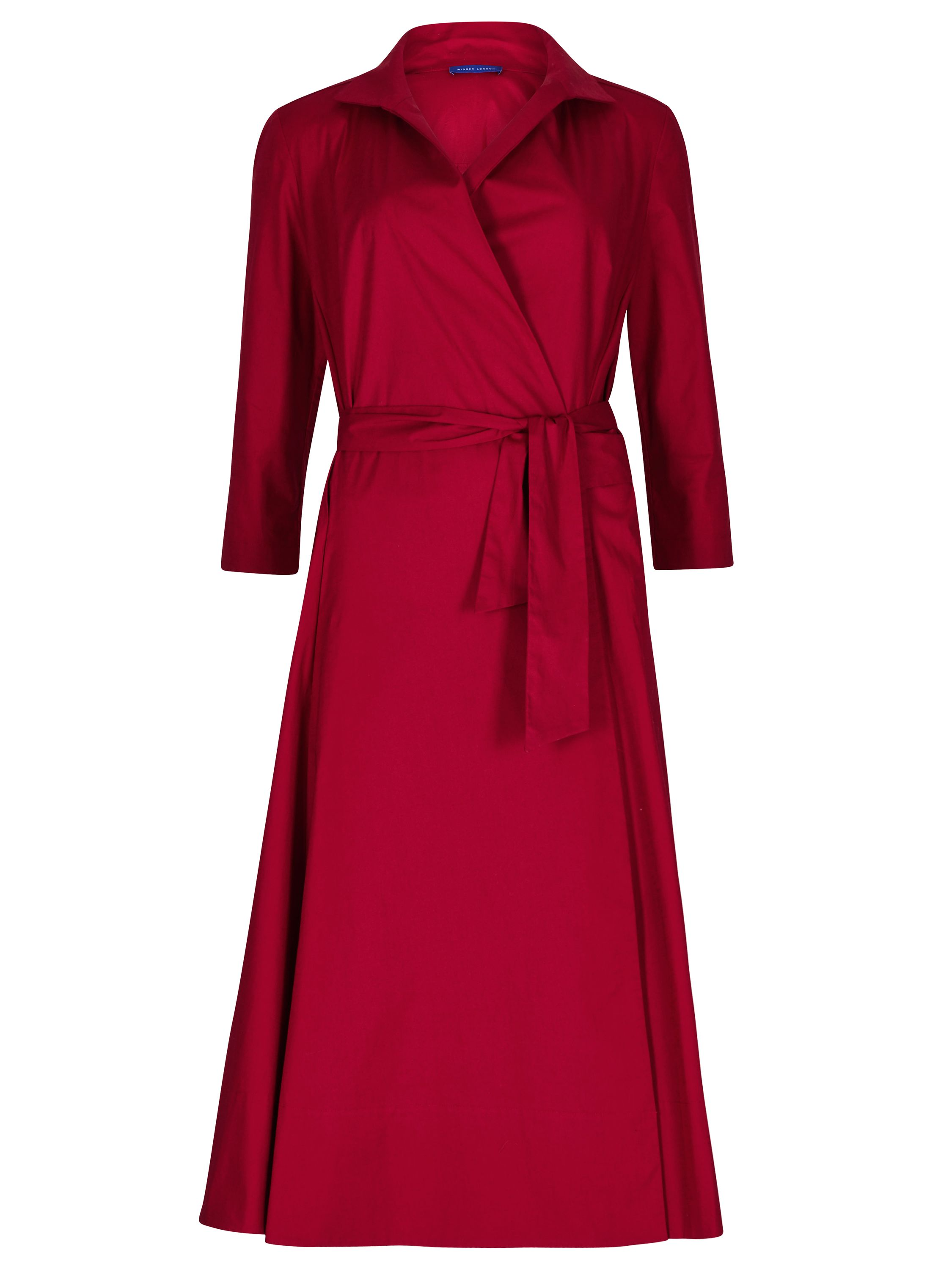 Winser London Cotton poplin wrap dress, Red