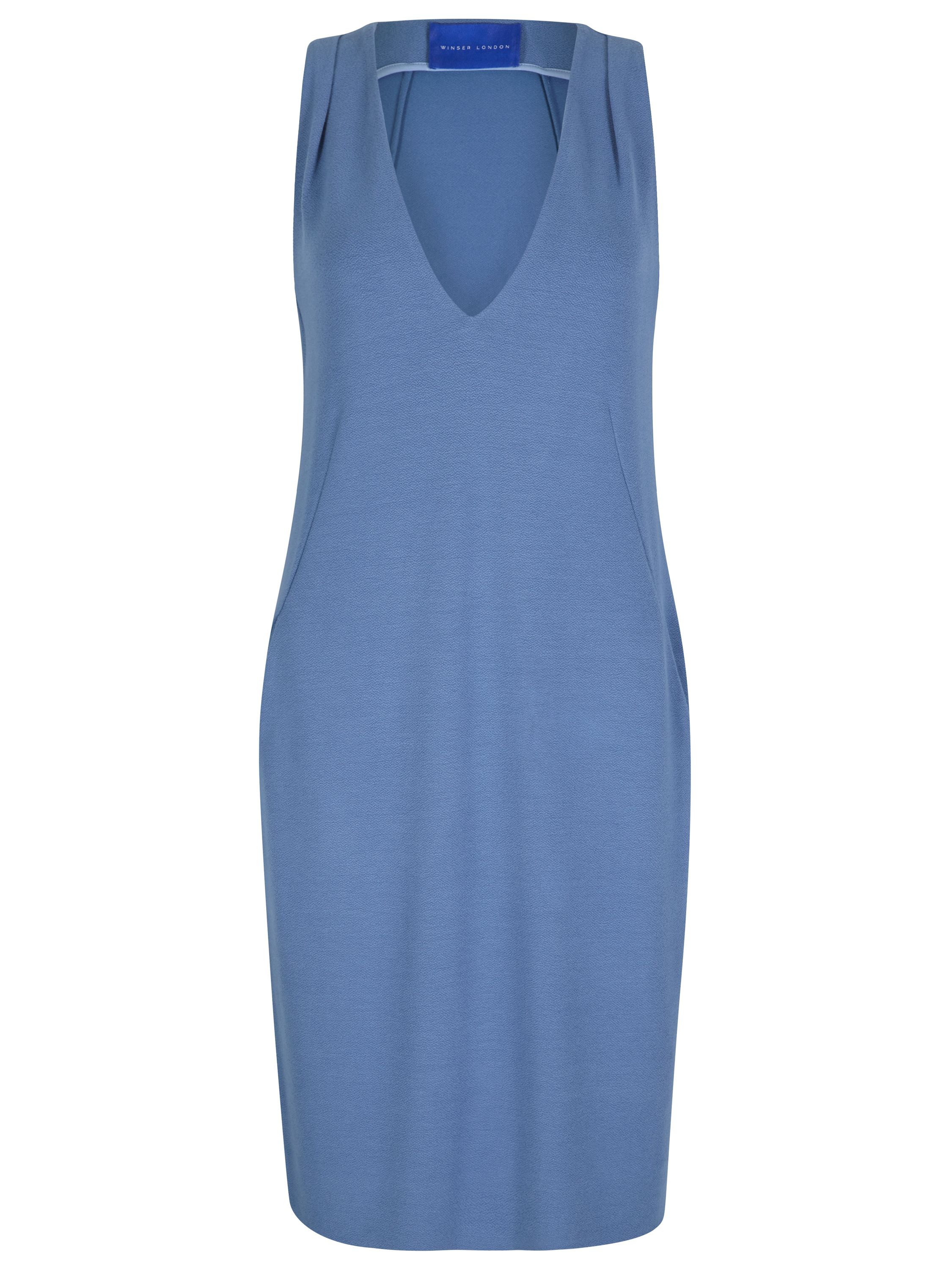 Winser London Crepe Jersey Shift Dress, Blue