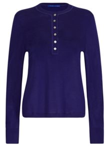 Winser London Merino Wool Henley Neck Jumper