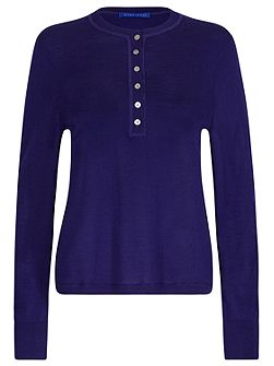 Merino Wool Henley Neck Jumper