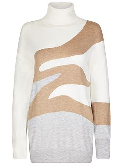 Wool Cashmere Intarsia Roll Neck Jumper