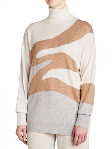 Winser London Wool Cashmere Intarsia Roll Neck Jumper