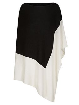 Wool Cashmere Colour Block Poncho