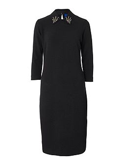 Crepe Jersey Detachable Collar Dress