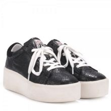 Cult crack leather platform trainers