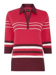 TIGI Striped Polo Neck Top