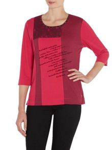 Three Quarter Sleeve Crew Neck Top