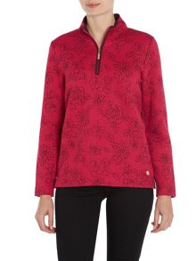 TIGI Long Sleeved Quilted Print Top
